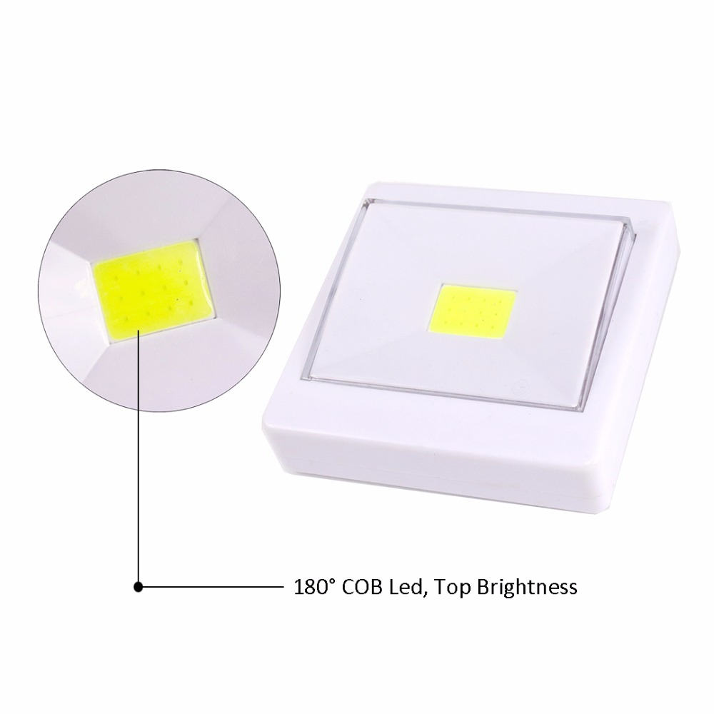 Led Night Light Wall Lamp ON/OFF Switch COB Camping Lamps Magnetic 3*AAA Battery Powered Children Baby Room Closet Stairs Use JQ