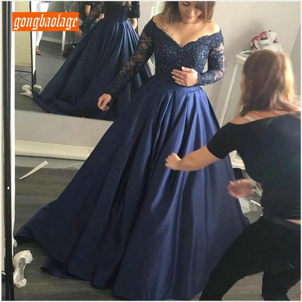 Somptueuse Satin bleu Royal foncé robes de soirée à manches longues 2019 Chic fête formelle robe dentelle Appliques personnalisé robes de soirée