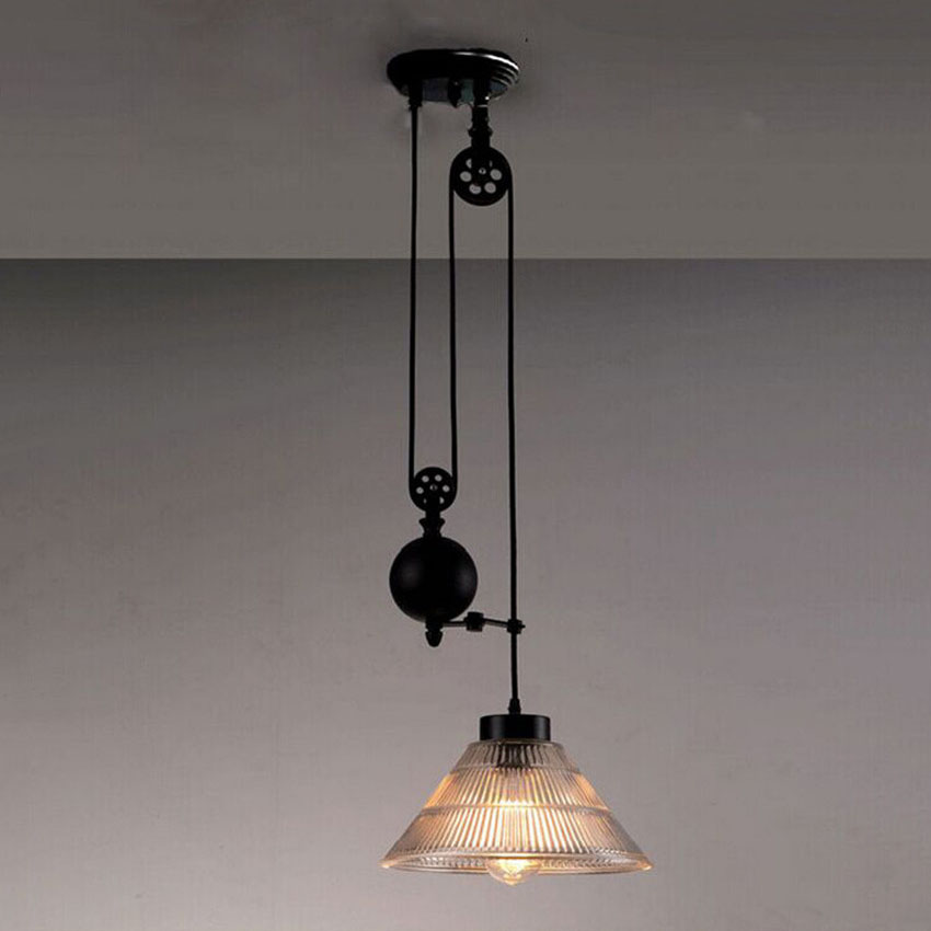 New nordic loft style vintage pulley pendant light industrial new nordic loft style vintage pulley pendant light industrial lighting edison pendant lamp for home deco pulley light fixtures in pendant lights from aloadofball Image collections