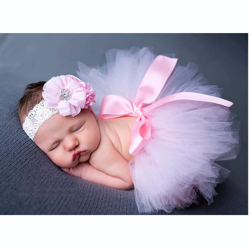 Pink Baby Photography Props Tutu Skirt Flower Newborn And Matching Headband Set Fluffy Girl Summer In Skirts From Mother Kids