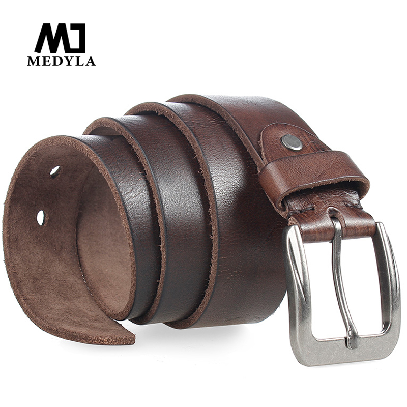 MEDYLA Classic Designed Buckle Male Strap 100 Genuine Top Upper Leather Belt for Man Girdle Wide