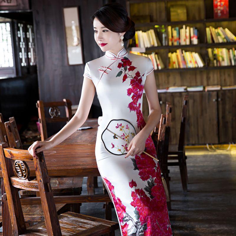 Silk cheongsam qipao dresses long slim elegant plus size national trend performance wear formal new arrival