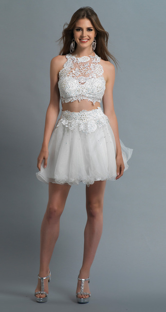 17a7ac3ebd9 Scoop Top Lace Formal White Short Two Piece Homecoming Dresses Vestido De 15  Anos Curto Festa8th