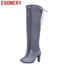 Botas femininas 2016แฟชั่นรองเท้าหัวเข่าสีดำสีเทารองเท้าสำหรับผู้หญิงรองเท้าฤดูหนาวสบายๆขาสูงบู๊ทส์พลัสขนาด34-43
