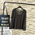 Fashion Transparent Mesh Long Sleeve T-shirts Casual Women Plus Size 3XL Sexy Slim O-neck Patchwork Modal Tops Black Whtie TY055
