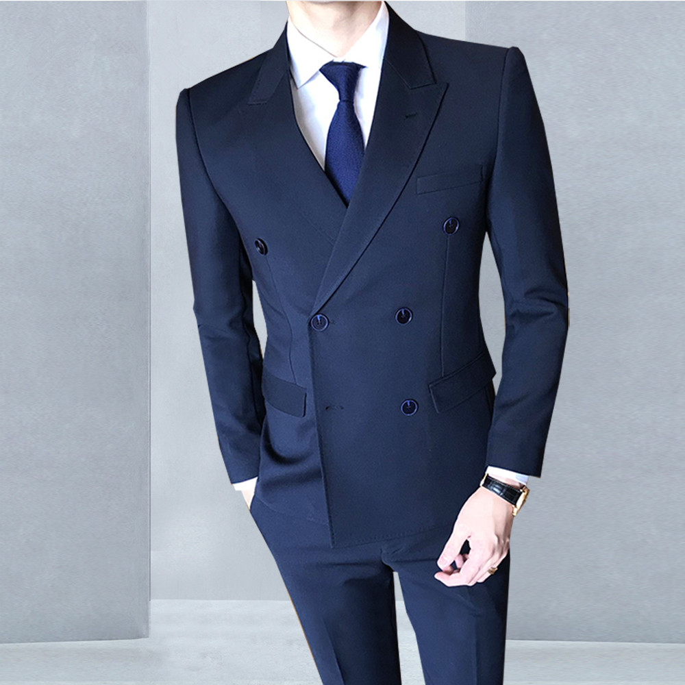YUNCLOS 2 Pieces Classic Plaid Wedding Suit For Men Double Breasted Slim Fit Men Tuxedos Party