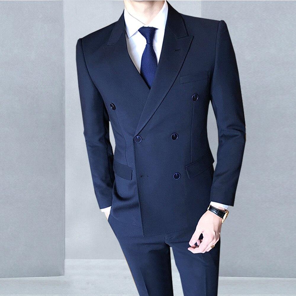 Erkek Kıyafeti'ten T. Elbise'de Terno masculino smokin Sıska Resmi Erkek takım elbise özel yapılmış Slim Fit seti düğün erkekler için uygun 2018 traje hombre anzug herren'da  Grup 1
