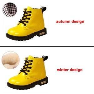 Image 5 - Stivali Martin per bambini stivali da moto impermeabili in pelle PU stivali da neve per bambini invernali scarpe da principessa per ragazze di marca stivali di gomma