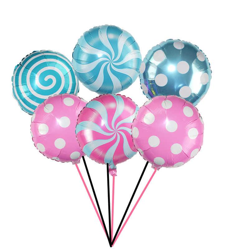 1/3P 18 cal Lollipop folia balon cukierki wiatrak punkt aluminiowe kulki na ślub Baby Shower materiały urodzinowe dla dzieci zabawki