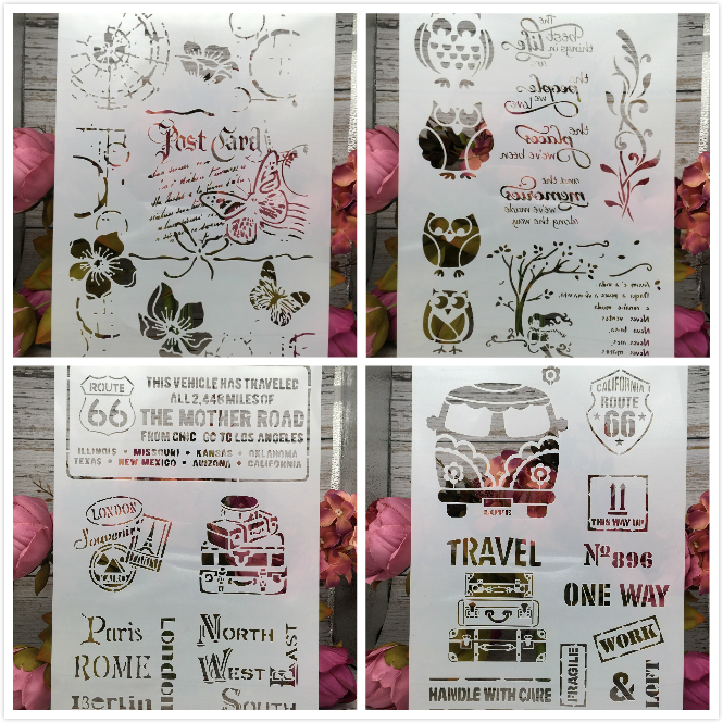 4Pcs/Lot A4 Owl Butterfly Bus Car 66 DIY Layering Stencils Painting Scrapbook Coloring Embossing Album Decorative Card Template