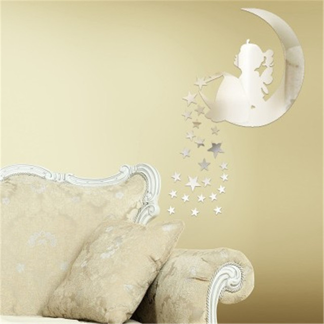 Moon Stars Fairy Mirror Wall Stickers For Kids Room Acrylic Mirrored  Decorative Sticker Mirror Wall Decals