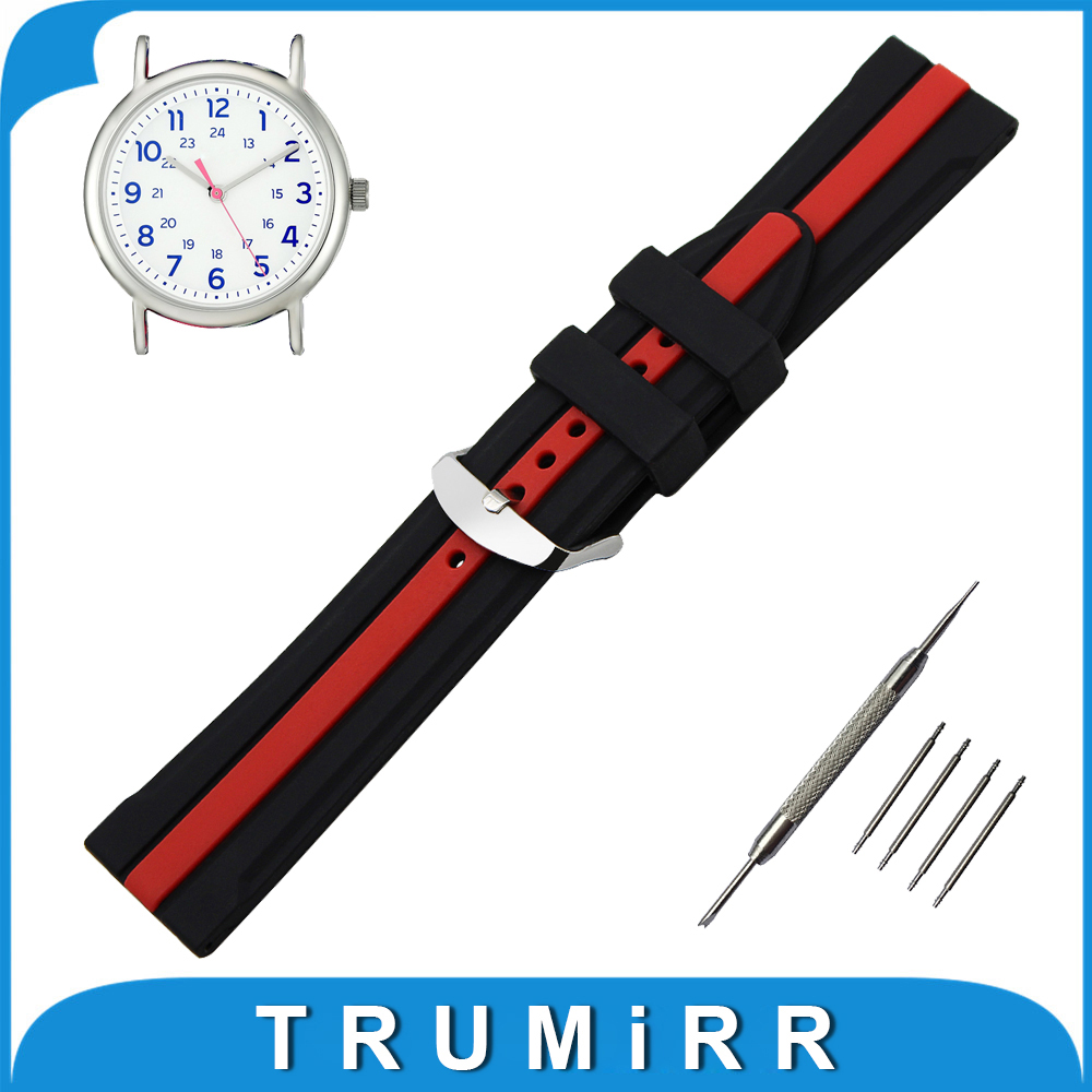 19mm 20mm 21mm 22mm Silicone Rubber Watch Band for Timex Weekender Expedition Strap Wrist Belt Bracelet + Spring Bar + Tool timex часы timex tw4b03500 коллекция expedition