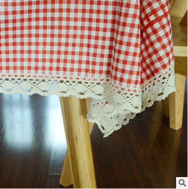 New Arrivals Pink Plaid Cotton Linen Table Cloth For Rectangular Table  Cover Cloth With Lace Edge