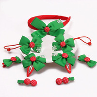 9pcs Set Grosgrain Ribbon Bows With Snowflake Children Hair Bands Tiny Bow Hairpins Christmas Hair Accessories