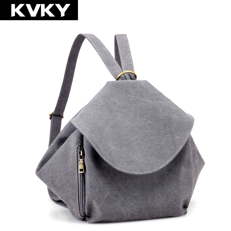 KVKY Brand Vintage Canvas Women Backpacks School Shoulder Bags Female Casual Travel Bags for Teenage Girls Rucksack Ladies Bolsa new brand designer women fashion backpacks simple koran style school for teenager girls ladies shoulder bags black