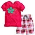 JTS263, flor, 6 set/lote, muchachas de los niños que arropan el sistema, 100% de Algodón de manga corta camiseta establece para 1-6 años.