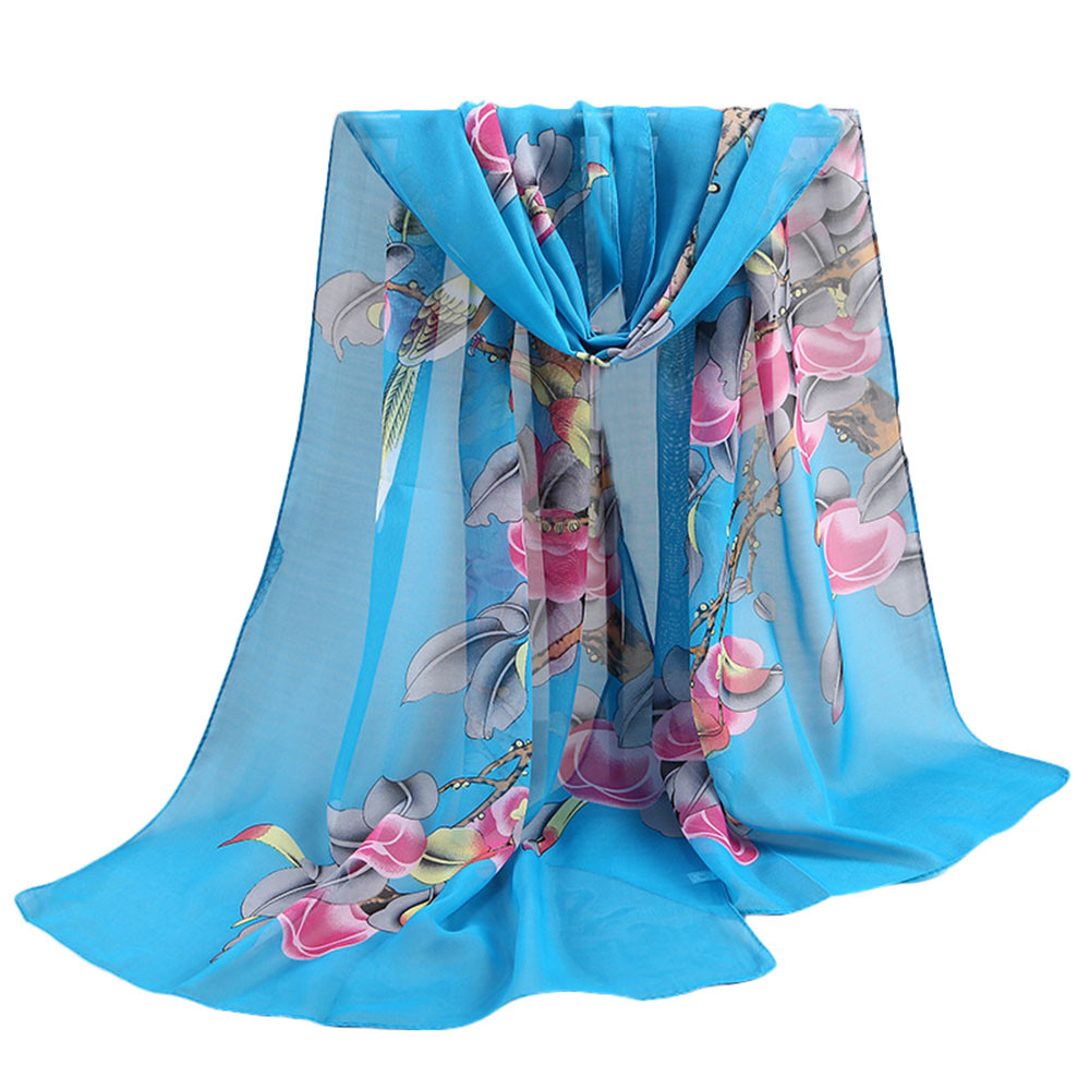 Fashion Soft   Scarf   Shawl For Women Floral Printing Chiffon   Wrap   Beach   Scarves   Ladies Thin Long Silk   Scarf     Wrap   Shawl Szalik #Z