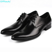 купить New Men Wedding Shoes Genuine Leather Formal Business Pointed Toe For Man Dress Shoes Luxury Brand Men's Oxford Flats дешево