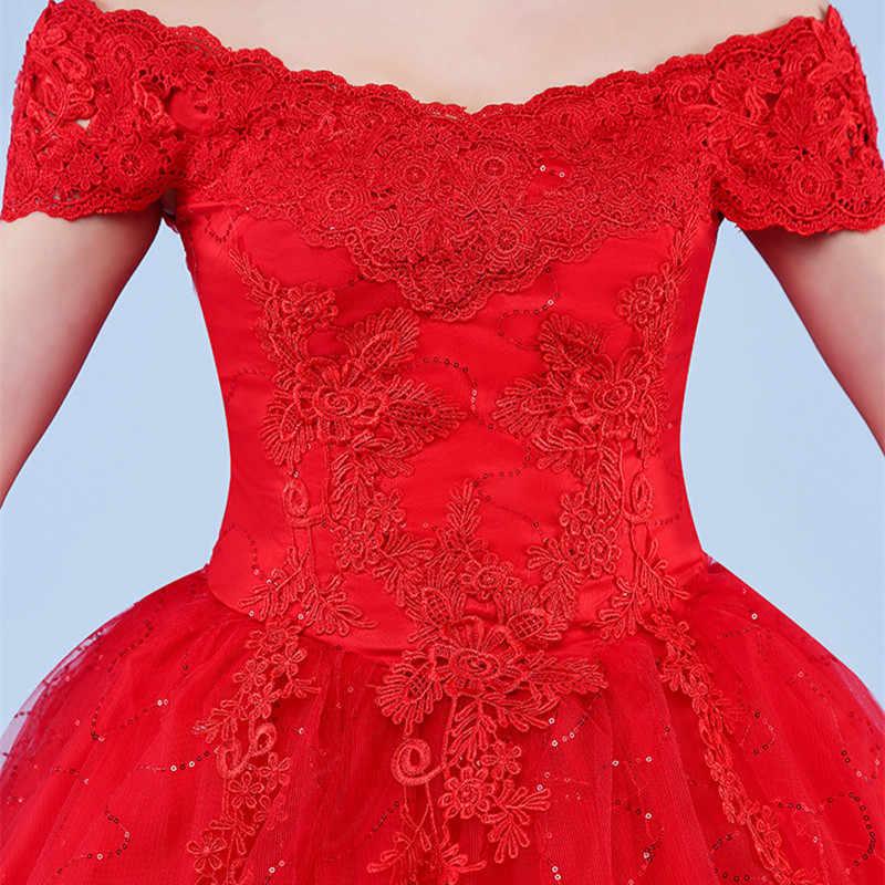 b6e9d6ef9c ... XXN054#Ball Gown lace up long Red and white wedding dress 2019 new plus  size