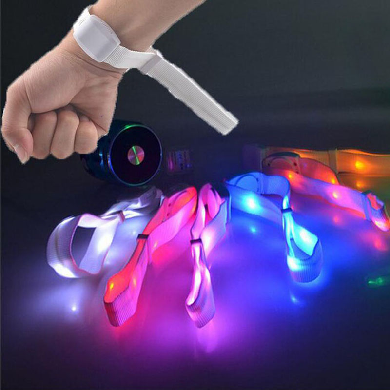 Voice Control Colorful LED Bracelet Light Up Flashing Glowing Sound Activated Wristband Popular Toys Party Decoration 00