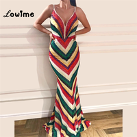 New Style Spaghetti Straps Party Dress Mermaid Sequin Middle Women Evening Gown 2018 Vestidos Arabic African V Neck Prom Dresses