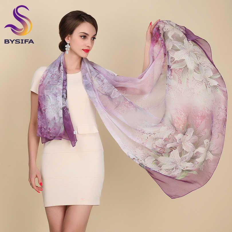 [Bysifa]秋冬ロングシルクスカーフショール女性の長い100%桑シルクスカーフ夏薄いシルクシフォンビーチスカーフラップ