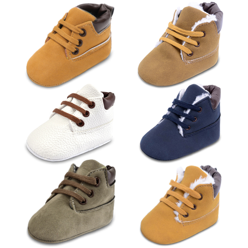 2017 Infant Baby Boys High-top Læder Sneaker Toddler Baby Sko Anti-Slip Soft Soled Lace Up Snow Boots Warm