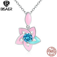 VOROCO Vintage 925 Sterling Silver Light Blue Pink Lily Flower 45CM Necklaces Pendants Women Fashion Necklace