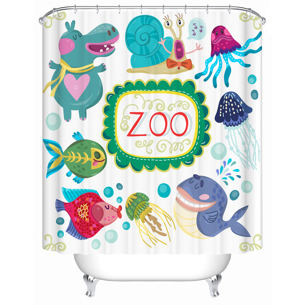 Cartoon Shower Curtain Fabric 3d Print Animal Fish Horse Fox Cattle Fowl Custom Polyester Bathroom Decor Accessary for Kids