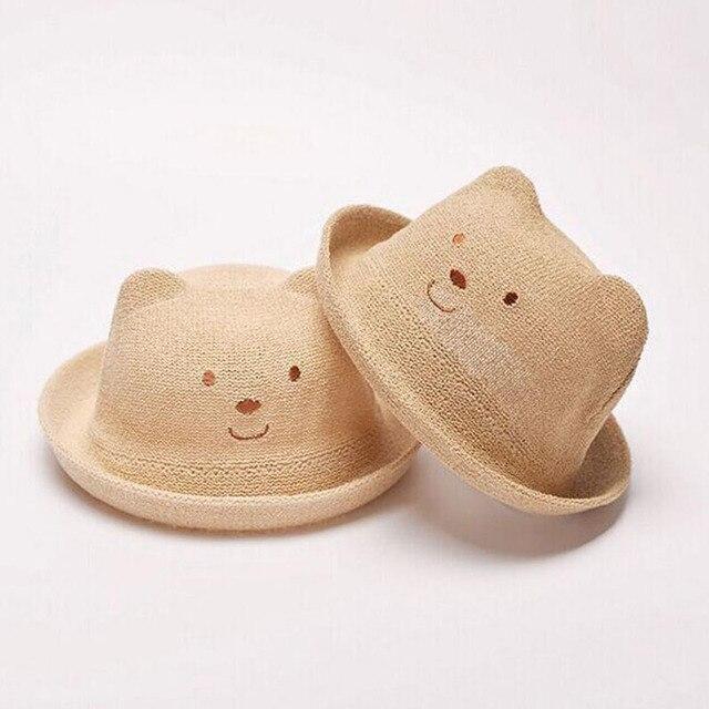 2016 моды соломенная шляпа летом ребенок уха украшения милый ребенок характер девочка и мальчик шляпа солнца твердых ребенка мягкие пластины соломенная шляпка