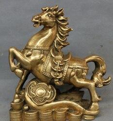 """S3601 9 """"Folk Chiński Mosiądz RuYi Rok Zodiaku Wealth YuanBao Moneta Skok D0318 Posąg Konia w Posągi i rzeźby od Dom i ogród na"""