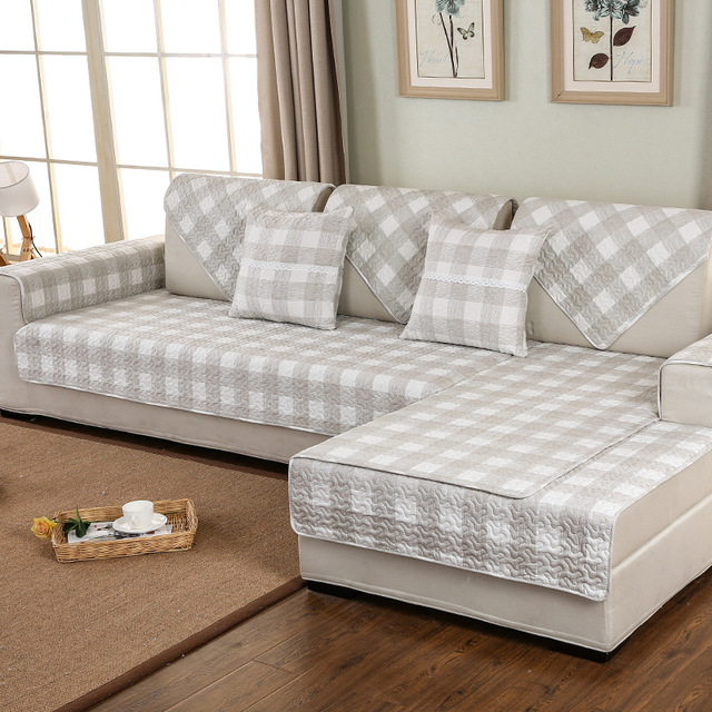 Plaid Sofa Cover Cotton Non Slip Sofa Cushion Modern Fabric Four Seasons  Sofa Towel Corner