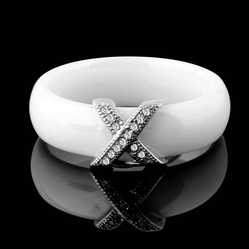 แฟชั่นเครื่องประดับผู้หญิงแหวนคริสตัล AAA 6/8 มม X CROSS แหวนเซรามิคสำหรับผู้หญิงผู้ชายใหญ่ขนาด 10 11 12 งานแต่งงานแหวนของขวัญ