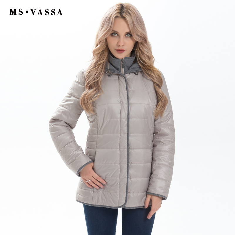 MS VASSA Women jacket 2017 Autumn Winter Parkas fashion Ladies coats with hood quilting outerwear plus size 5XL 6XL 7XL dower me women jacket 2017 autumn winter new fashion parkas padded ladies coats long quilted jackets plus size 3xl 4xl outerwear