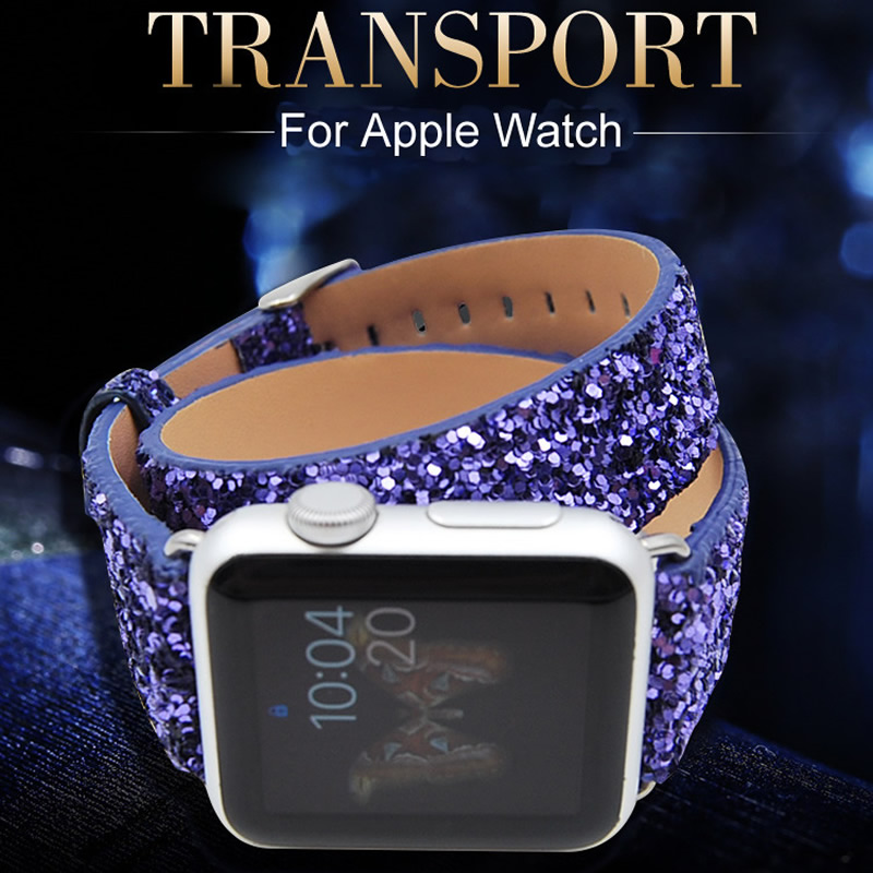 Wrist Strap For Apple iWatch Glisten Style Double Tour Origina Leather Watch Band For Apple Watch Series 1 2 3 Watchband 38-42mm luxury ladies watch strap for apple watch series 1 2 3 wrist band hand made by crystal bracelet for apple watch series iwatch