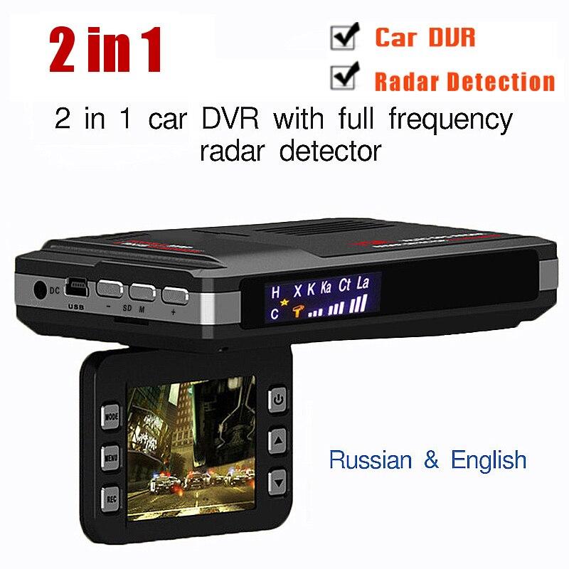 Rusia o Inglés voz 2 en 1 coche DVR Anti Radar detector HD 1080 p G-sensor de visión nocturna bucle grabación dash cam envío gratis