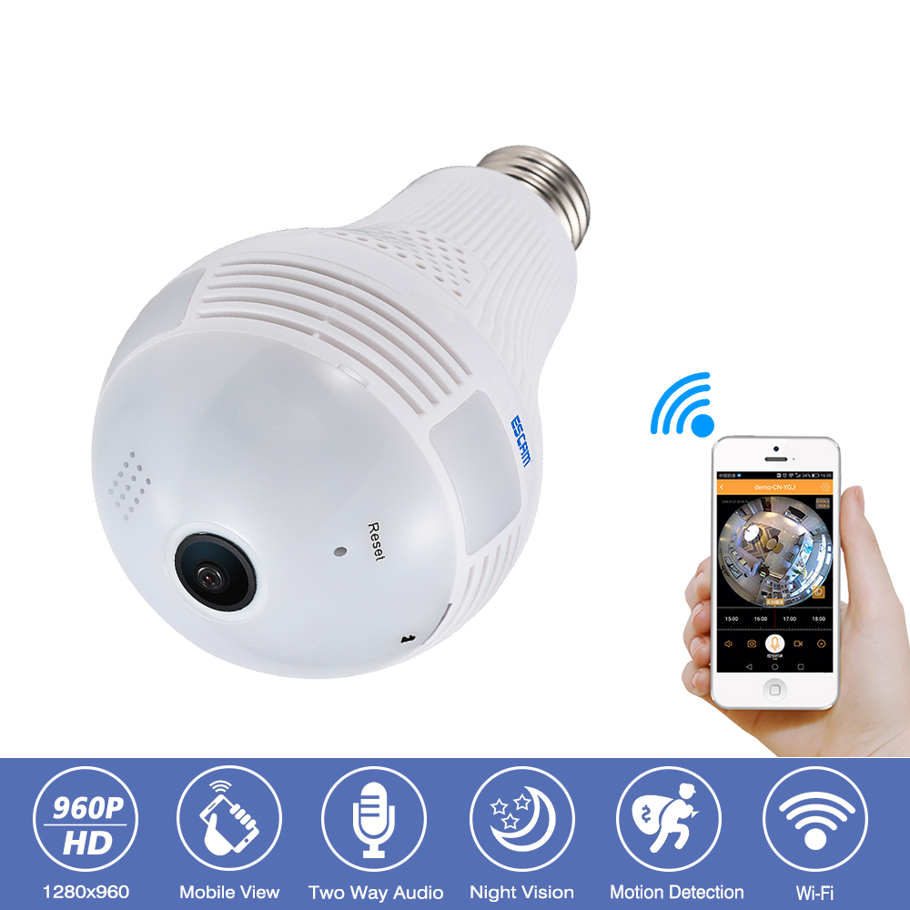 Escam QP136 360 Degree Panoramic Bulb Light CCTV Security Surveillance HD-960P Wireless IP Wifi Camera 2-Way Audio Night Vision escam qp136 960p bulb wifi ip security camera 360 degree panoramic h 264 infrared indoor motion detection ip camera