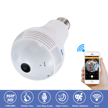 Escam QP136 360 Degree Panoramic Bulb Light CCTV Security Surveillance HD-960P Wireless IP Wifi Camera 2-Way Audio Night Vision