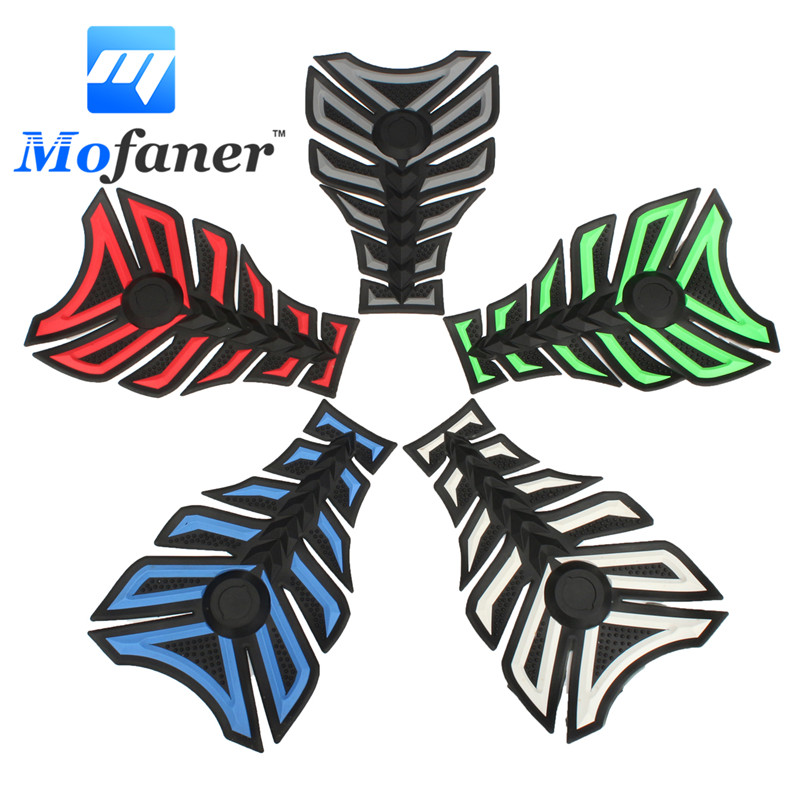 3D Rubber Motorcycle Modified Decal Sticker Gas Oil Fuel Tank Pad Protector Red Blue Green White Grey