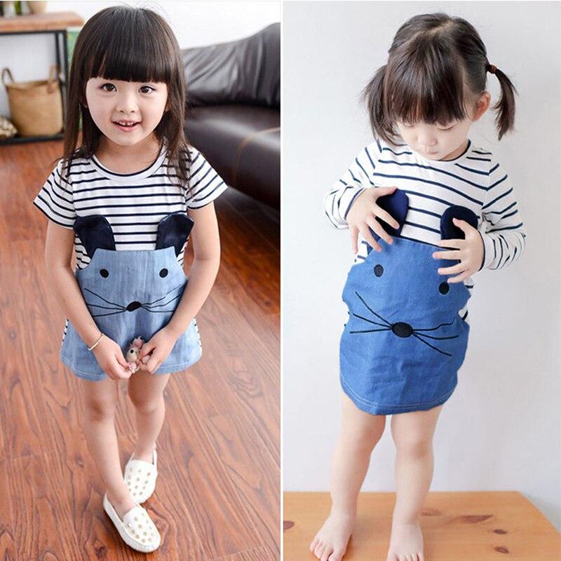 2-7 gadi meiteņu vasaras kleitas Bērnu meitene O-kakla īsa - Bērnu apģērbi
