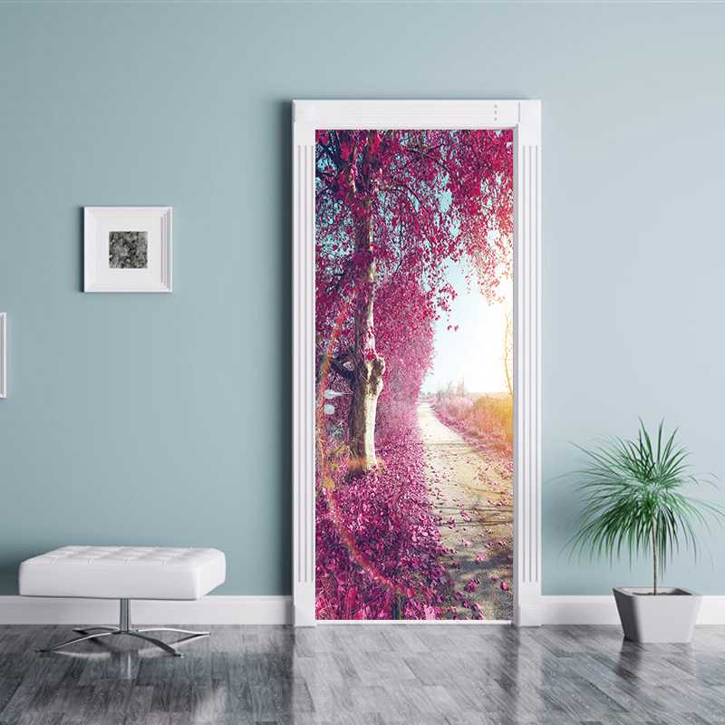 2pcs/set Creative Rose Flower world Wall Door Sticker Wall Sticker Wallpaper Living Room Mural Home Decoration Home Decal YMT177