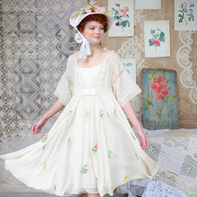 LYNETTE'S CHINOISERIE Summer Original Design Women High Quality Vintage Herbal Embroidery Loose Lace Patchwork Chiffon Dresses