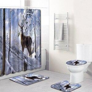 Image 2 - Hayvan geyik desen tasarımı 4 adet banyo perdesi su geçirmez kumaş duş perdesi halı seti tuvalet paspası banyo için