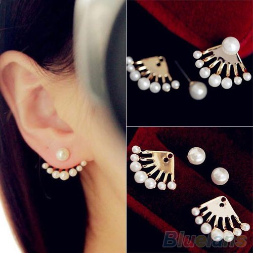 Fashion Front Back Earrings Pearl Ear Earbobs Clips Studs For Women 1ski In Stud From Jewelry Accessories On Aliexpress