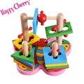 Feliz Cereja Colorido Blocos Geométricos De Madeira Classificador de Correspondência Aprendizagem Montessori Preschool Educacional Brinquedos para As Crianças Do Bebê