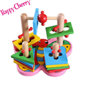 Happy Cherry Colourful Wooden Blocks Geometric Sorter Matching Preschool Learning Montessori Educational Toys for Baby Kids