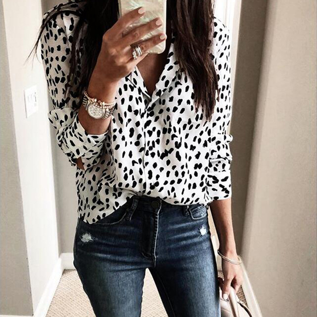 Button down shirt Sexy Ladies Blouse Long Sleeve Shirt Women V Neck Leopard Print Tee Top Street wear Club Party Blouse Casual in Blouses amp Shirts from Women 39 s Clothing