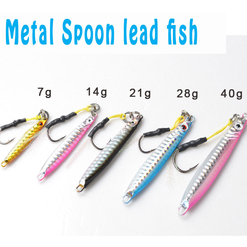 TOMA 5 Pieces Brand Jig 4 colors Jigging Metal Spoon lure High Quality VIB artificial bait BKK hook boat fishing lures lead fish toma spoon metal fishing lures lead fish 80g sinking bait metal jigging lure artificial bait bass lure fishing tackle