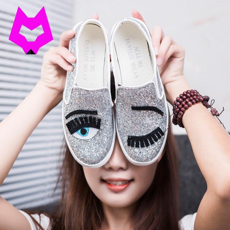 Lobo Que 2017 Chiara Ferragni pisos de punta redonda zapatos de mujer Glitter Pe