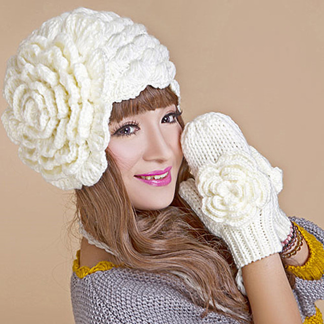 Winter Warm Beanie & Gloves Suit Handmade Knit Crochet Hat Caps Glove with a Big Flower